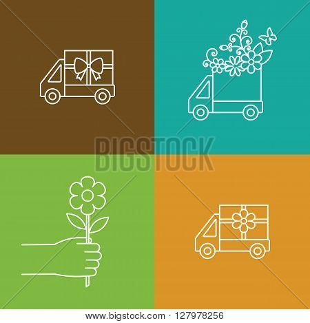 Flower and gift delivery truck icon.line icons.Hand with flower. Design for web.Vector illustration