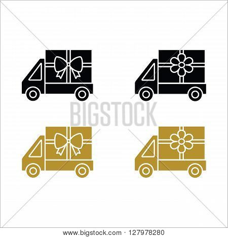 Flower and gift delivery truck icon. Black and gold car icon isolated on white background. Design for web. Pictograph of car.Vector illustration