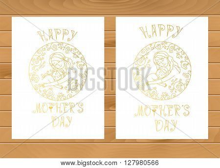 Golden motherly love concept isolated on a white background. Set of two templates for card poster or background .Mother and son in love inside round. Mother and daughter in love inside round..Mother and baby.Mother's day.Mother and baby.Isolated on white