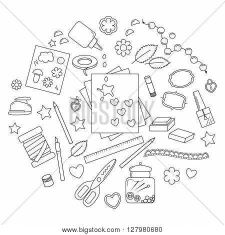 Collection of scrapbooking tools: hole punch, stencil, lace, frame, eyelets, installer, bradses, star, heart, leafVector illustration.