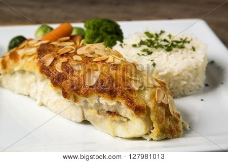 Delicious Healthy Grilled Fish Fillet Served On A Platter With A Colorful Fresh Salad For A Tasty Se
