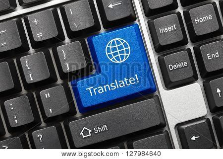 Conceptual Keyboard - Translate (blue Key With Earth Symbol)
