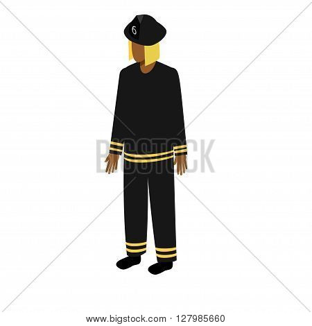 African-American man standing full face fire. Stock Isometric-style games, infographics, reports, websites and icons