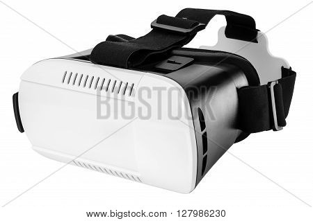 Plastic virtual reality glasses with straps isolated on white background