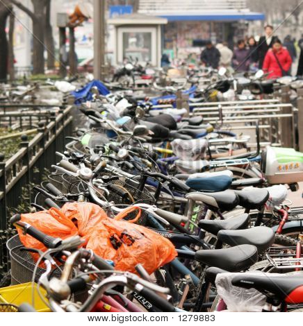 Bicycle Parking Lot In Asia