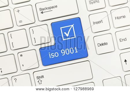 White Conceptual Keyboard - Iso 9001 (blue Key)