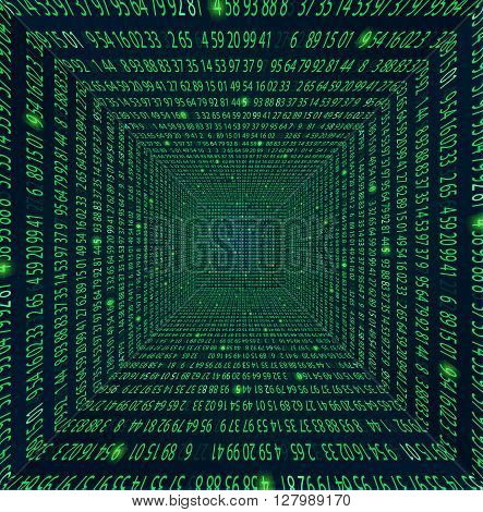 Template coding and programming theme. Green - cyan numbers rows. Vector tiled seamless loopable eps abstract illustration. numbers in rows Tunnel
