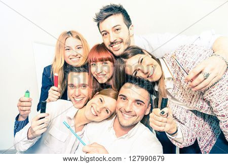 Group of happy people employee workers taking selfie - Business concept of human resource on working fun time - Start up entrepreneurs at office