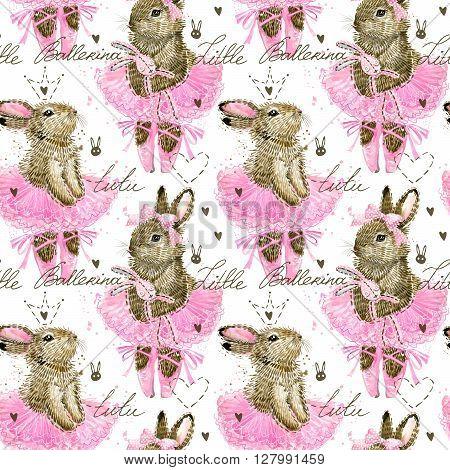 Cute Bunny. Cute Bunny seamless pattern. Seamless pattern for kid. Cute Ballerina.  Watercolor Bunny illustration.