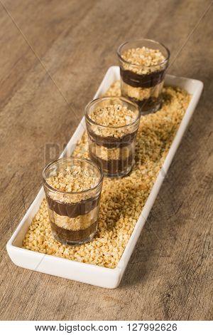 Brigadiers. Brazilian sweet brigadeiro de colher. Gourmet dessert.