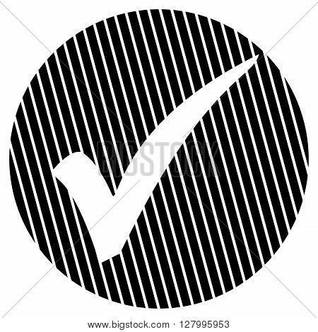 Striped round Button with white symbol is showing Tick