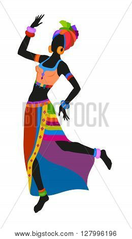 African woman dancing ritual dance in the bright national costume