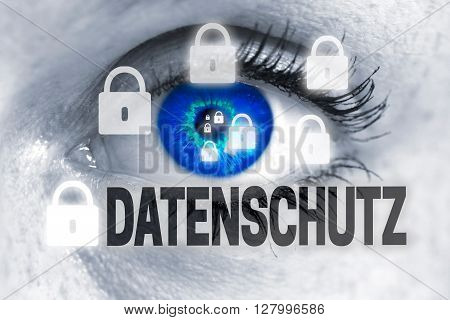 Datenschutz (in German Data Protection) Eye Looks At Viewer Concept