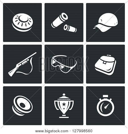 Skeet, Ammunition, Clothes, Weapon, Security, Sack, Announcement, Victory, Time icons.