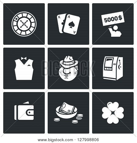 Bet, Blackjack, Jackpot, Suit, Mafia, One-armed bandit, Finance, Poverty, Clover icons