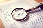 Income tax 1040 us individual tax return form and magnifying glass poster