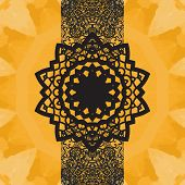 Indian Yoga Ornament, kaleidoscopic floral pattern, yantra in center. Seamless ornament lace.Oriental vector pattern. Islamic, Arabic, Indian, Turkish, Pakistan, Chinese, Asian, Moroccan, Ottoman motifs. Mandala-like design poster