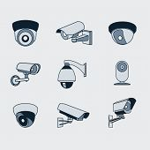 On the image is presented set of icons surveillance camera poster