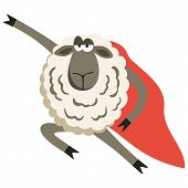 Stubborn Lamb superhero with red cloak. Sheep professional character. Vector illustration of stubborn super hero isolated on white. poster