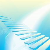 Light blue abstract geometrical background with stair poster