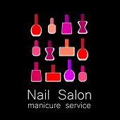 Nail polish logo. Colorful nail polish on  black background. Design sign - nail care. Beauty industry, nail salon, manicure service, spa boutique, cosmetic products. Cosmetic label.  poster