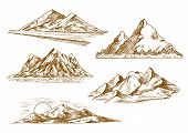 Beautiful mountain landscapes engraving sketch icons with scenic sunset over hills, danger mountain road, mountain valley with flashy river and forest, snowy summits of rocky ridge. Nature and tourism theme design poster