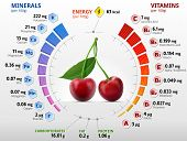 Vitamins and minerals of cherry fruit. Infographics about nutrients in sweet cherry. Qualitative vector illustration about cherry, vitamins, fruits, health food, nutrients, diet, etc poster
