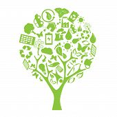 Green tree made of eco friendly elements poster