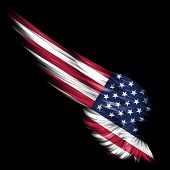 Abstract wing with american flag on black background poster