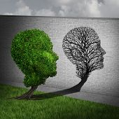 Feeling sick and sickness concept as a full green tree casting a shadow on a wall shaped as an empty plant with only branches as a health symbol of human disease and illness in a 3D illustration style. poster