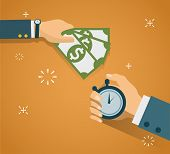Hand with stopwatch and hand with cash. Payment methods, cash-out, smart investment, business, cash withdrawal, business, online payment concepts. Flat design. Creative vector illustration EPS10 poster