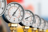3D render illustration of the row of metal steel high pressure gauge meters or manometers with brass fittings on tubing pipeline at LNG or LPG natural gas distribution station plant or factory facility poster