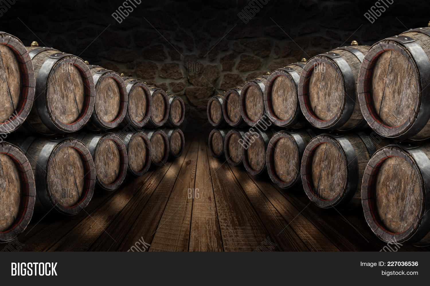 oak wine barrels. Oak Wine Barrels In The Cellar. Old Stone Wall At Background.