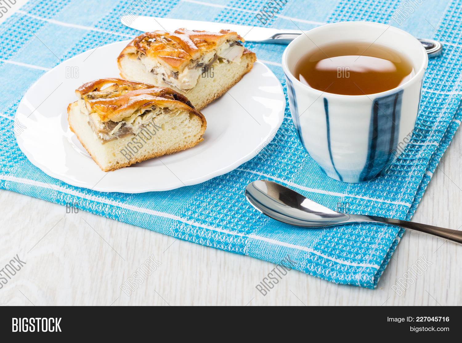 Pieces Of Pie With Chicken In Plate Table Knife Cup Of Tea Teaspoon & Pieces Pie Chicken Plate Table Image u0026 Photo | Bigstock