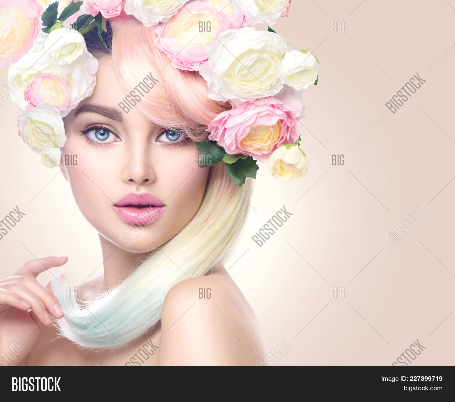Spring woman beauty summer model image photo bigstock beauty summer model girl with colorful flowers wreath and colorful hair flowers izmirmasajfo