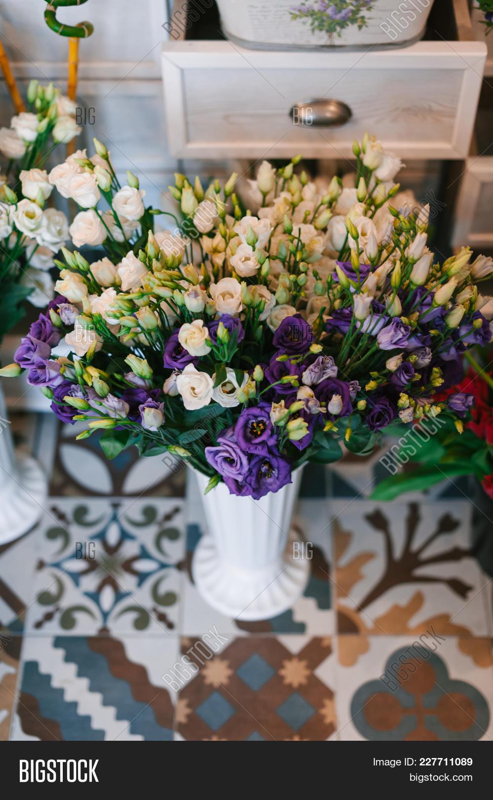 Beautiful fresh image photo free trial bigstock beautiful fresh flowers in pots in a flower shop with beautiful decorated vintage floor izmirmasajfo