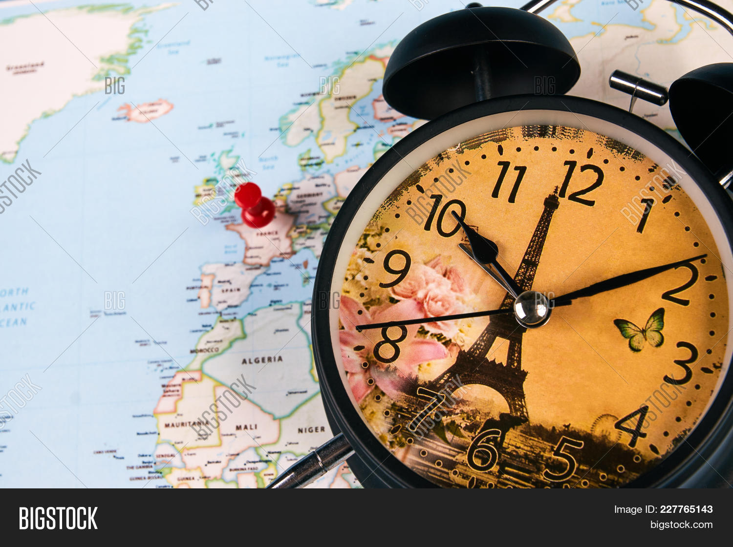 Planing travel france image photo free trial bigstock planing for travel to france paris with worldmap globe and alarm clock travel time in gumiabroncs Images