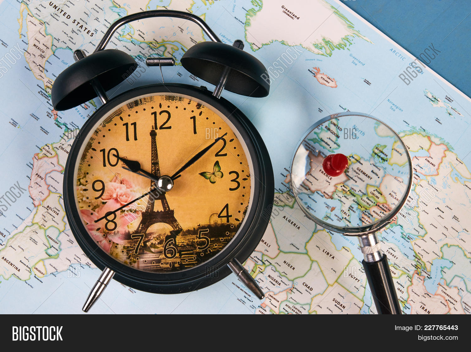 Planing travel france image photo free trial bigstock planing for travel to france paris with worldmap globe magnifying glass and alarm clock travel gumiabroncs Images
