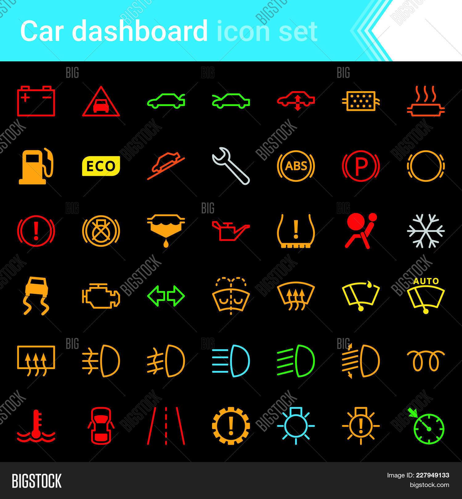 Colorful car dashboard interface vector photo bigstock colorful car dashboard interface and indicators icon set service maintenance vector symbols biocorpaavc Images
