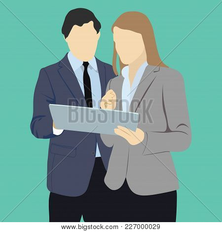 Business People Group Using Tablet Computer Internet Communication Flat Vector Illustration