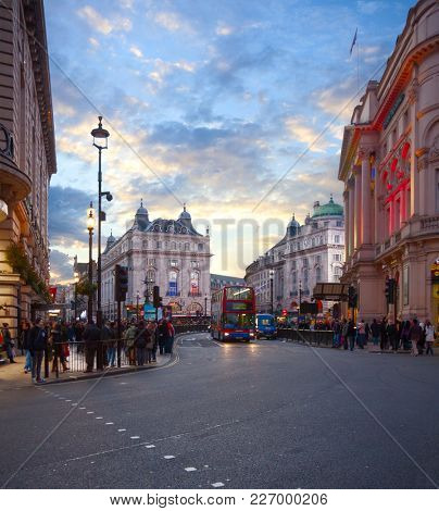 Looking  on Coventry Street towards the Piccadilly Circus by evening, London, England, United Kingdom.