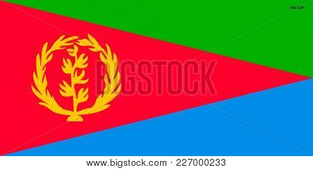 Flag of Eritrea. Symbol of Independence Day, souvenir sport game, button language, icon.