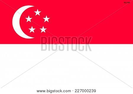 Flag of Singapore. Symbol of Independence Day, souvenir sport game, button language, icon.