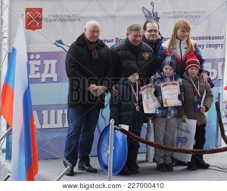 ST. PETERSBURG, RUSSIA - FEBRUARY 3, 2018: Award ceremony during the Open All-Russian Mass Skating Competitions Ice Of Our Hope. Founded in Soviet era, this year competitions will be held in 32 cities