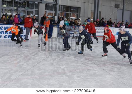 ST. PETERSBURG, RUSSIA - FEBRUARY 3, 2018: One of starts during the Open All-Russian Mass Skating Competitions Ice Of Our Hope. Founded in Soviet era, this year competitions will be held in 32 cities