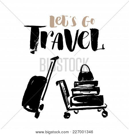 Isolated On White Background Sketch. A Cart Loaded With Suitcases And Bags