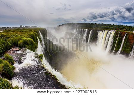The Devil's throat /Garganta del Diablo/. The most full-flowing waterfall in the world on the Parana River. Concept of extreme and active tourism