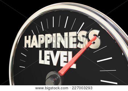Happiness Level Gauge Rating Speedometer 3d Illustration