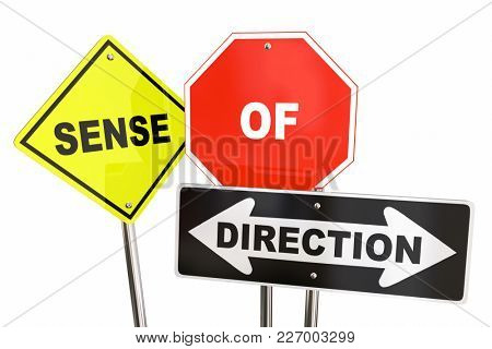 Sense of Direction Road Signs Guidance 3d Illustration