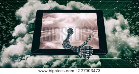 3D Robotic hand showing thumbs up against digitally generated binary code landscape